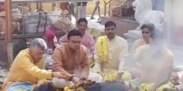 गृहमंत्री अमित शाह के बेटे जय ने मां बगलामुखी मंदिर में किया अनुष्ठान