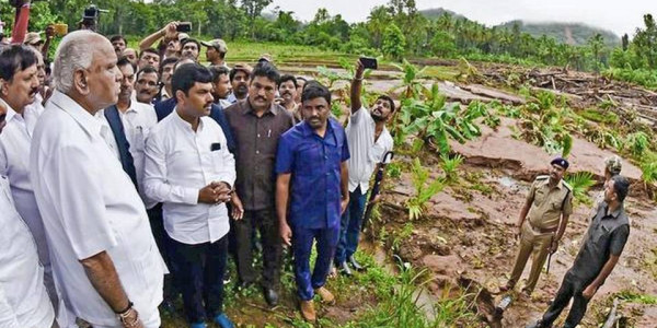Karnataka Chief Minister B.S. Yediyurappa reviews relief works in Shivamogga district