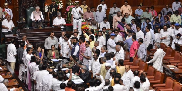 Karnataka Budget session: BJP disrupts Governor's address, some Congress MLAs absent