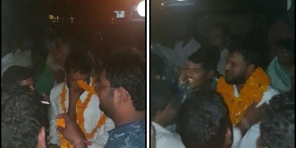 यूपी में ज़मानत पर छूटे दंगे के आरोपी भाजपा नेता का जय श्रीराम के नारों से हुआ स्वागत