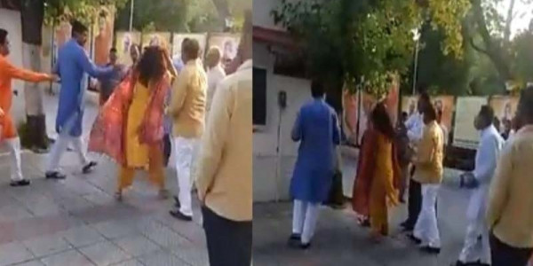 BJP leader Slaps His Wife in Front of Everyone at Party Office