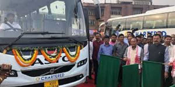 Assam Transport Minister flags off 6 Volvo buses in Guwahati; Launches ASTC App for tickets