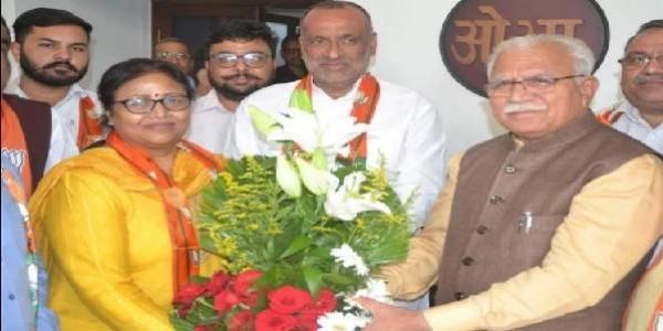 हरियाणा महिला कांग्रेस की महासचिव अंजलि बंसल भाजपा में शामिल