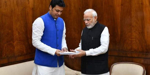 tripura-cm-meets-pm-modi-union-ministers-in-new-delhi