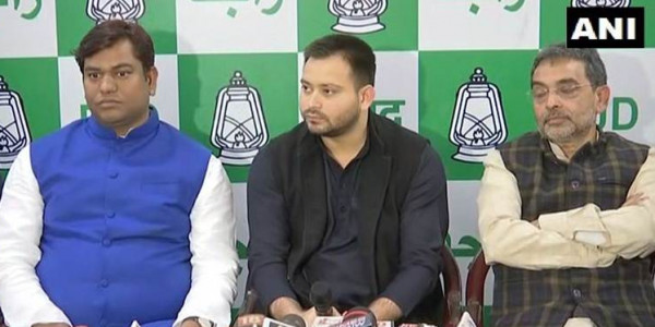 People with 56-inch chest bowed down to Nitish: Tejashwi, Kushwaha attack BJP on seat sharing