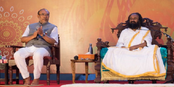 Manipur CM visits The Art of Living International Center @SriSri in first tour since historic surrender of militants in Manipur