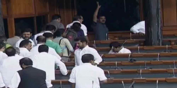 Opposition walks out of Lok Sabha over Karnataka crisis