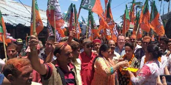 लोकसभा चुनाव में मिली सफलता से उत्साहित भाजपाइयों ने चकराता में निकाला विजय जुलूस