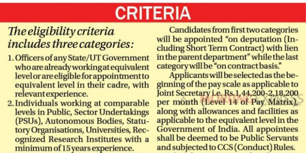Private Sector professionals as Bureaucrats Government opens 10 Joint Secretary posts