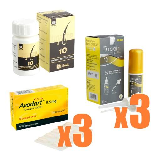 AGA治療クリニック処方薬3ヶ月分セット(ミノキシジル x デュタステリド)