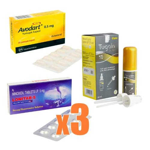 AGA治療クリニック処方薬1ヶ月分セット(ミノキシジル x デュタステリド)