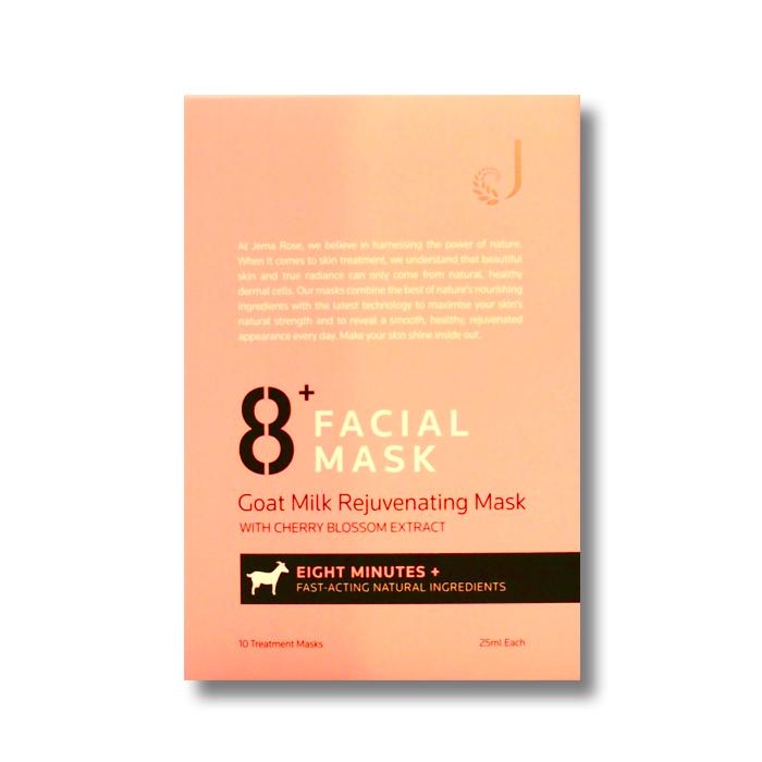 8+ フェイシャルマスク – ゴートミルク(ヤギ乳)リージューヴィネイト(10枚入り)