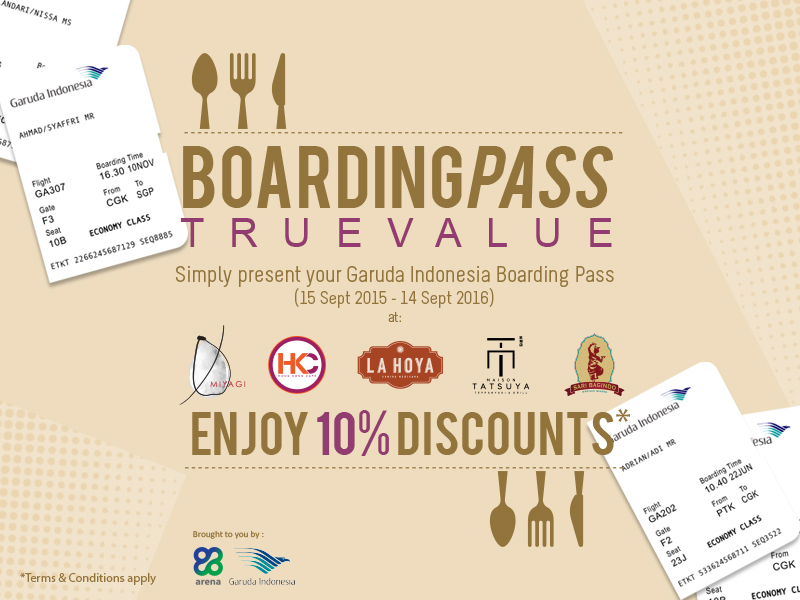 Present Your Garuda Indonesia Boarding Pass Get 10 Discount