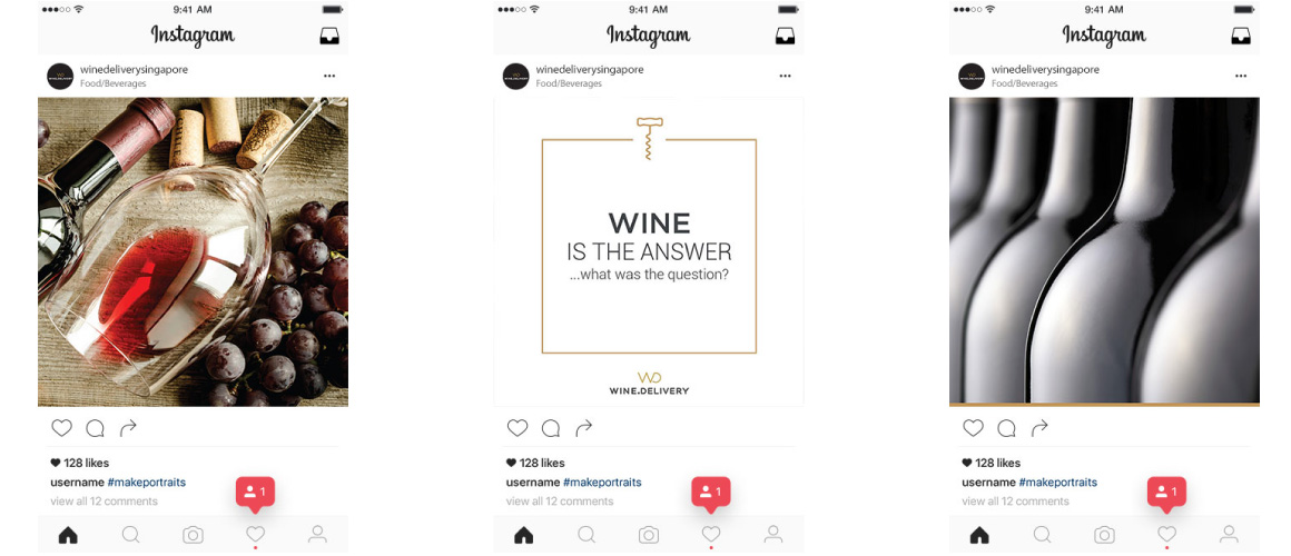 mOOnshot digital marketing agency Singapore - Wine.Delivery Instagram cards