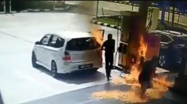 Motorist Pump Petrol Engine Running