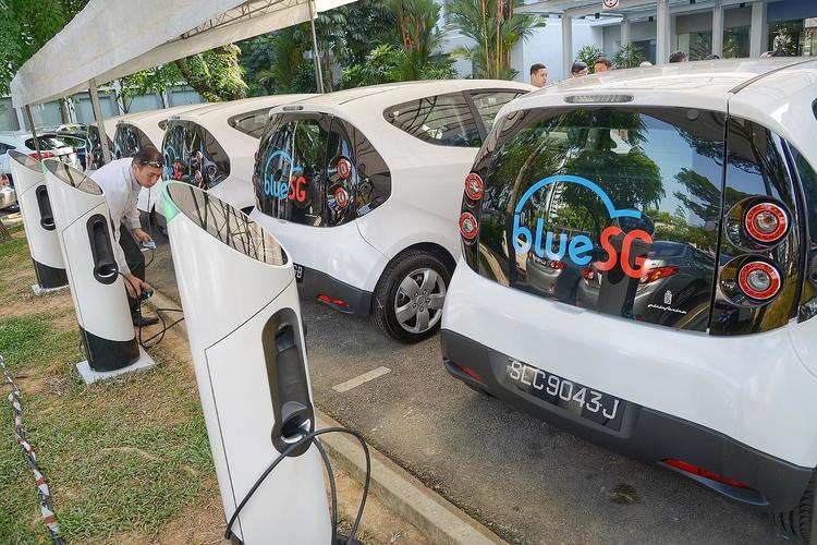 bluesg electric car sharing singapore