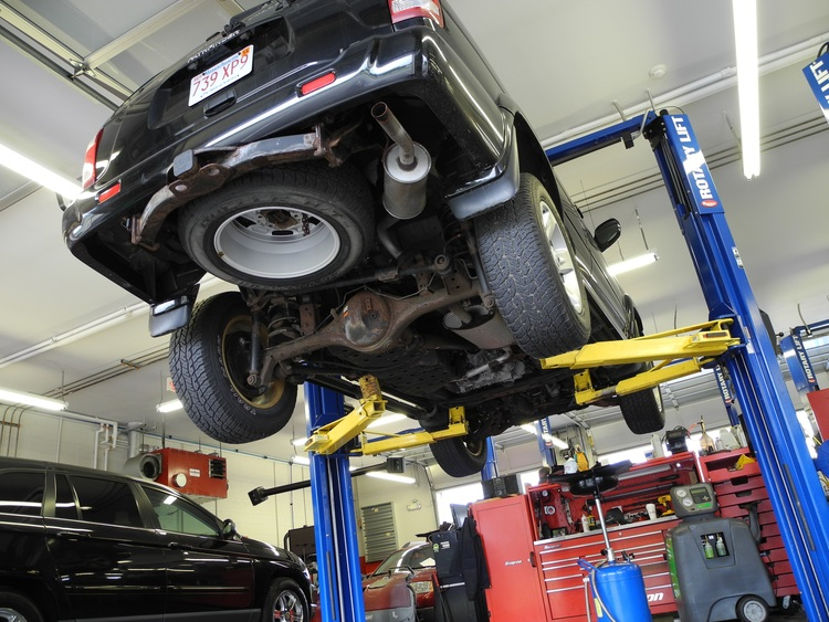 Car under repair service maintenance
