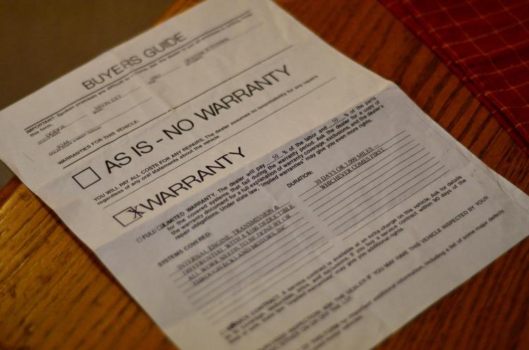 Warranty paper certificate