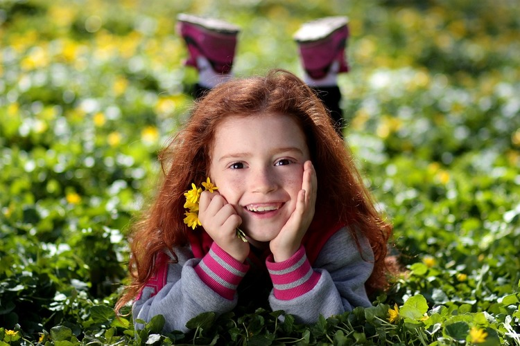 Girl Portrait Red Hair Beauty Child Freckles garden