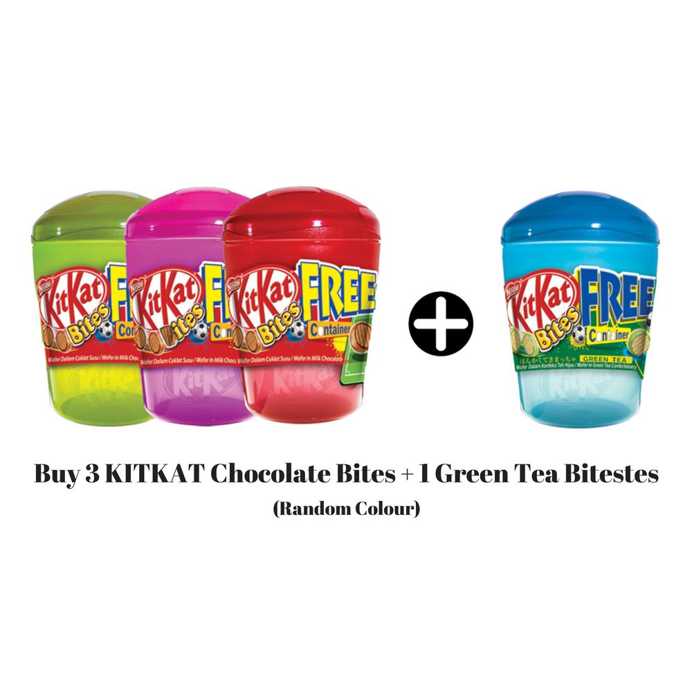 Nestle KITKAT Milk Chocolate Bites 3 + 1 Green Tea Bites (Pack of 200g)