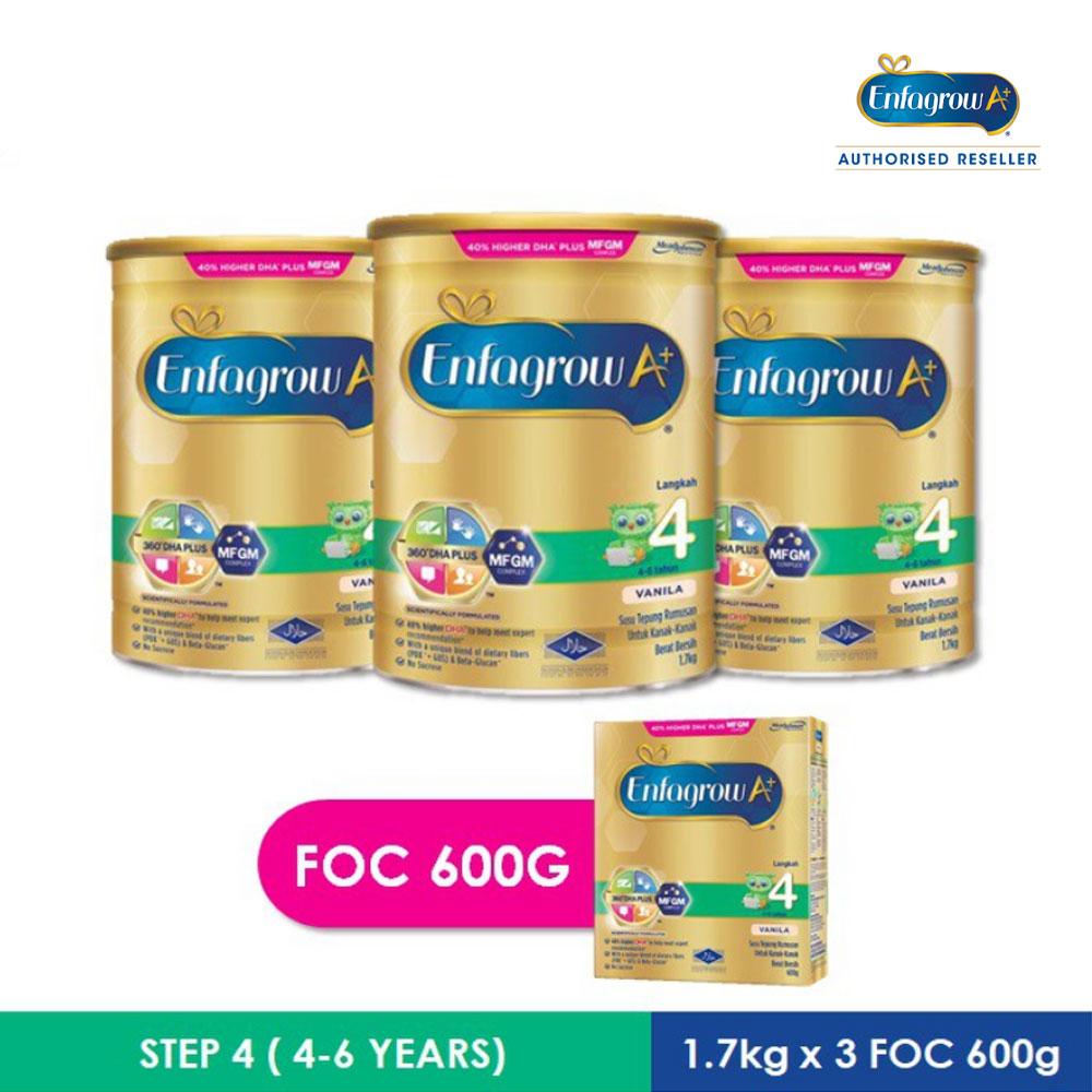 Enfagrow A+ Step 4 Vanilla - 1.7kg x 3 pack +  Step 4 600g x 1pack
