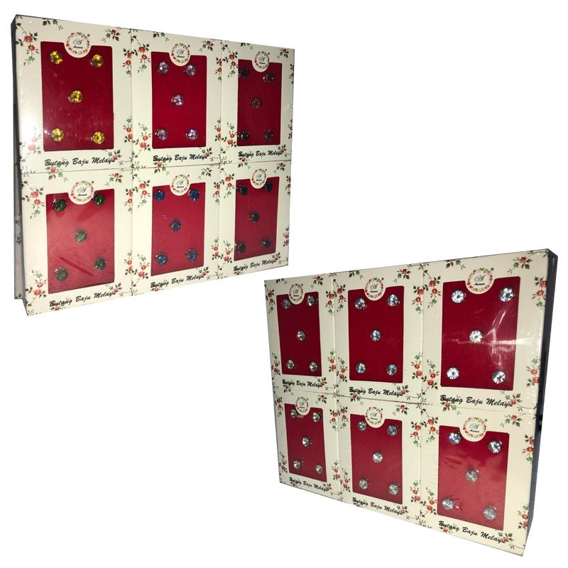 Butang Baju Melayu/Cubic Zirconia (7mm) 12Boxes