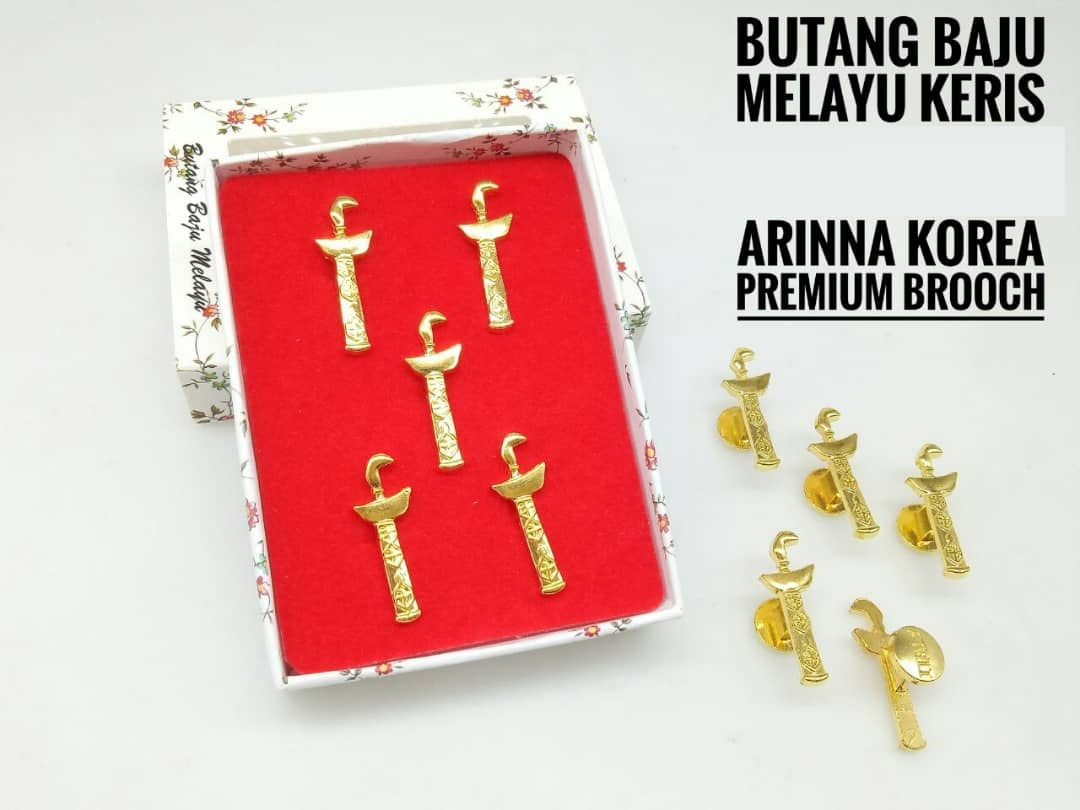 KERIS/G(1) Butang Baju Melayu - Keris Style,Gold Color
