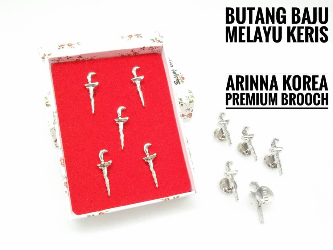 KERIS/RD(2) Butang Baju Melayu - Keris Style,Rhodium Color