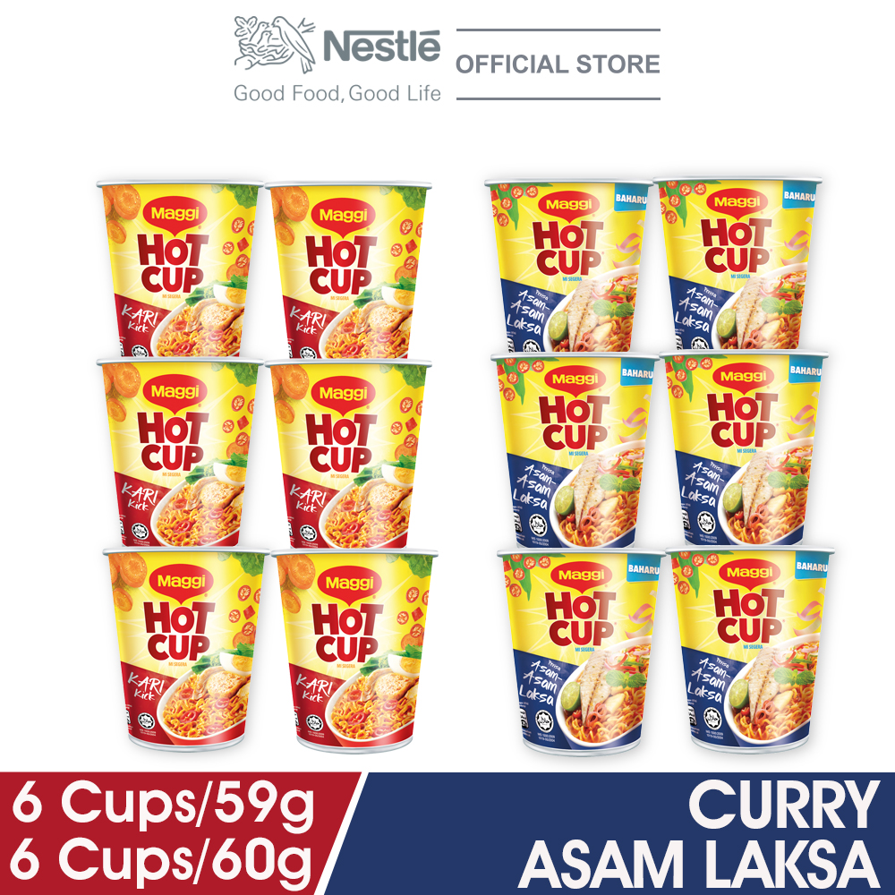 MAGGI Hot Cup Curry x 6 Cups + Asam Asam Laksa x 6 Cups