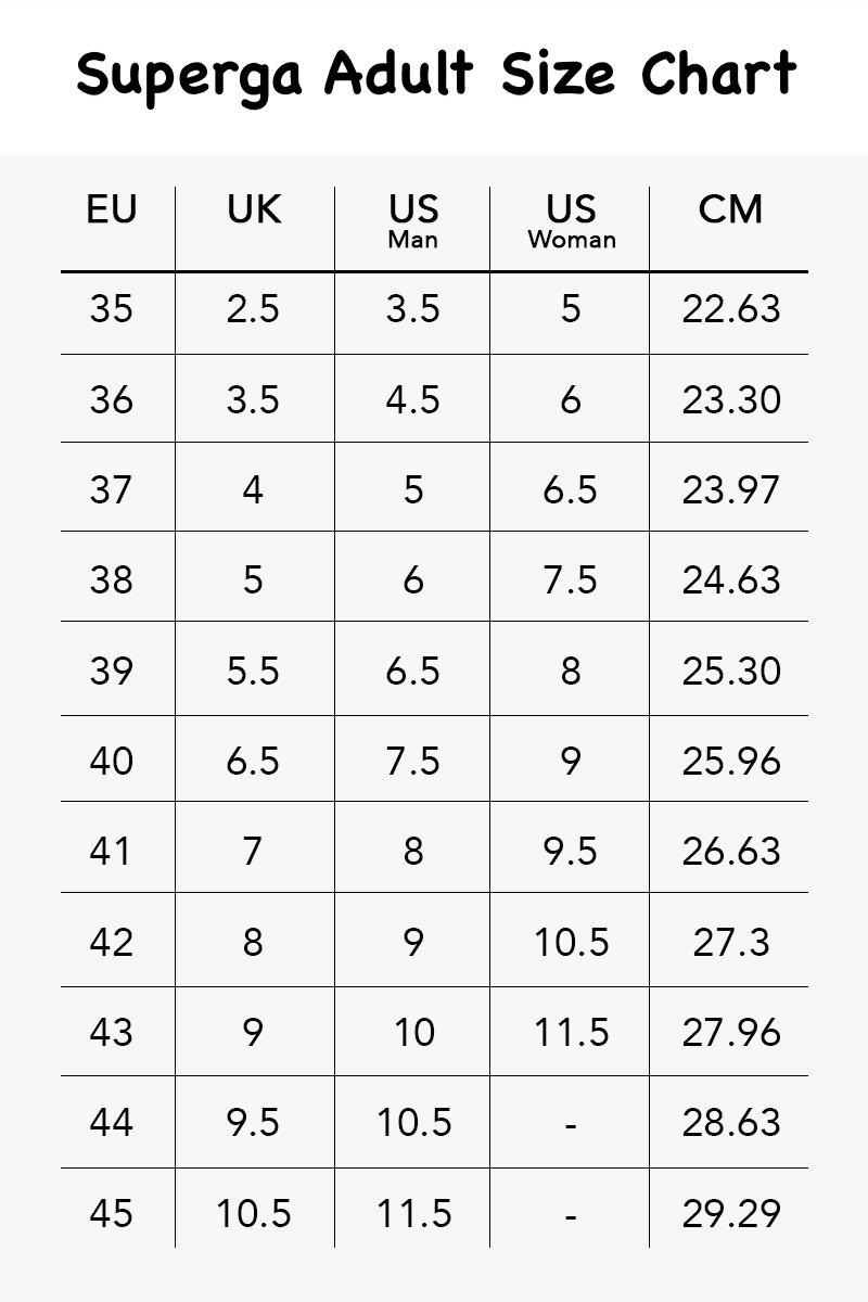 superga unisex size chart