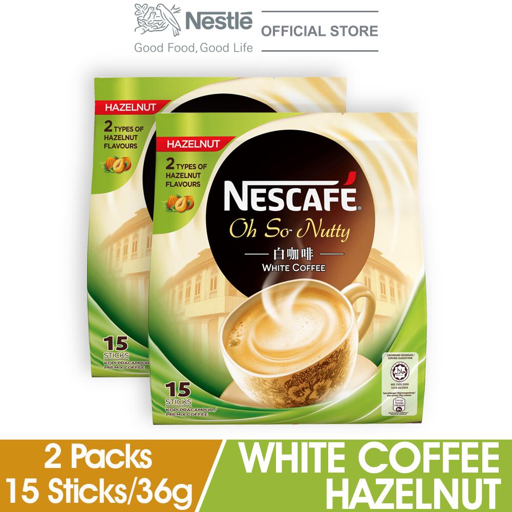 NESCAFE White Coffee Hazelnut 15 Sticks 36g x2 packs