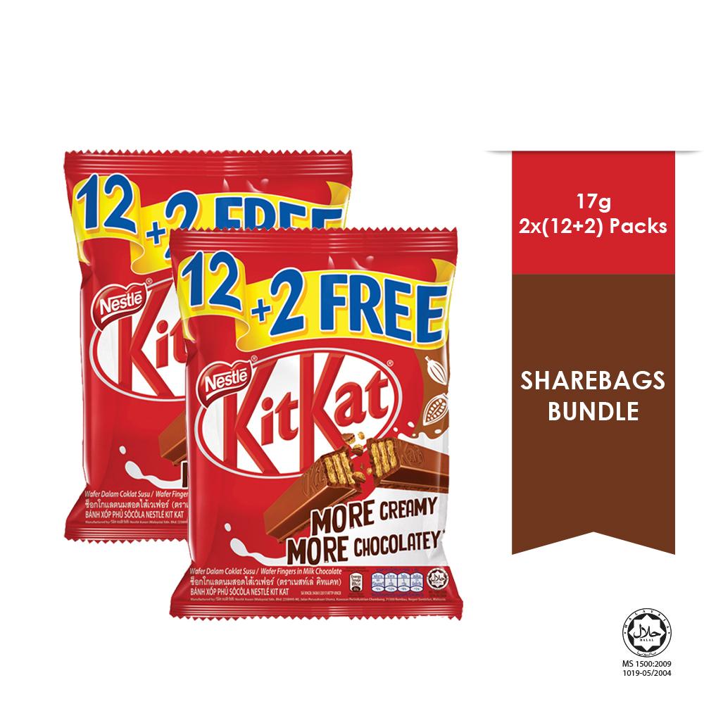 NESTLE KITKAT 2-Finger Share Bag 12+2 , Buy 2