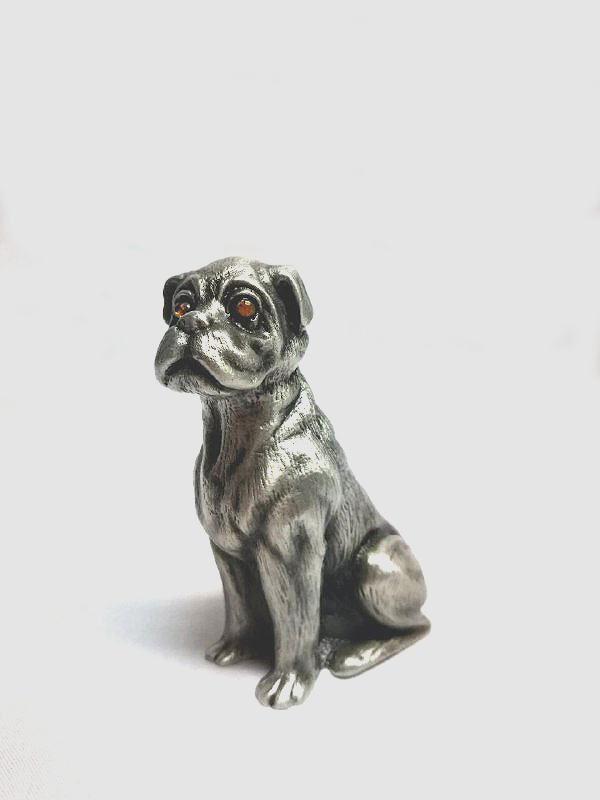 DKH017 Pewter Figurines - Dog with Yellow Stones Eyes