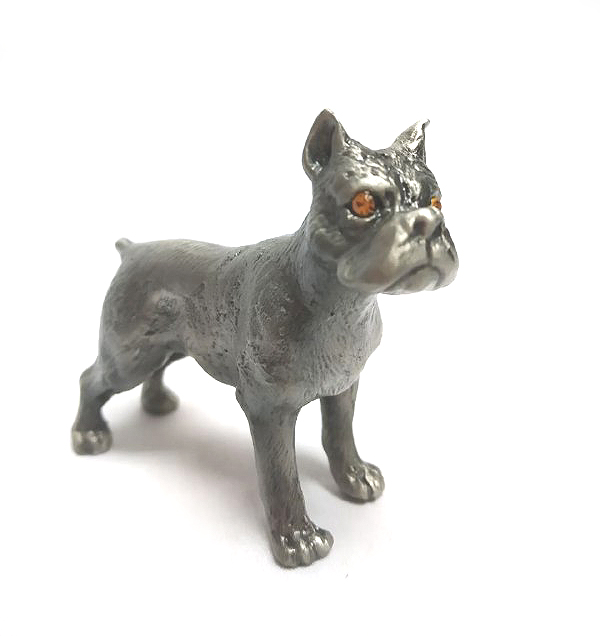 DKH022 Pewter Figurines - Dog with Stones Eyes (Random Color Stones)