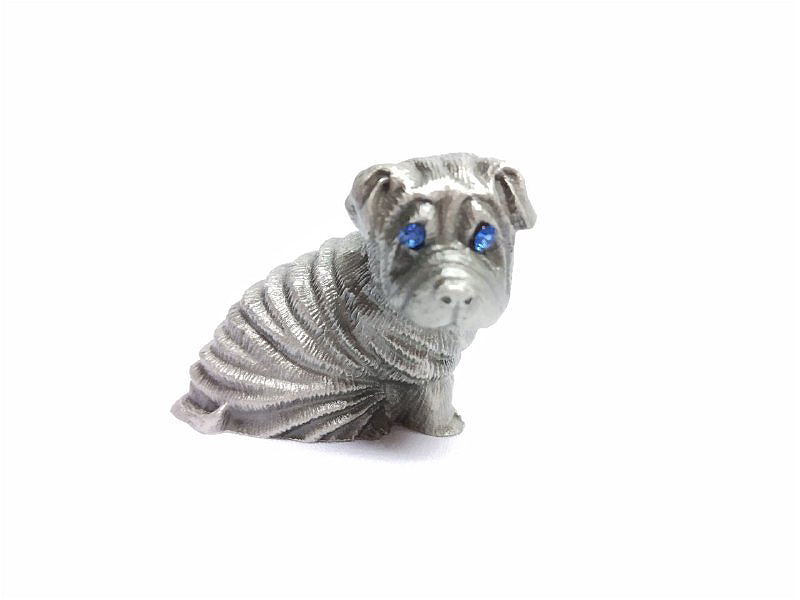 Pewter Figurines - Bulldog with Stones Eyes (Random Color Stones)
