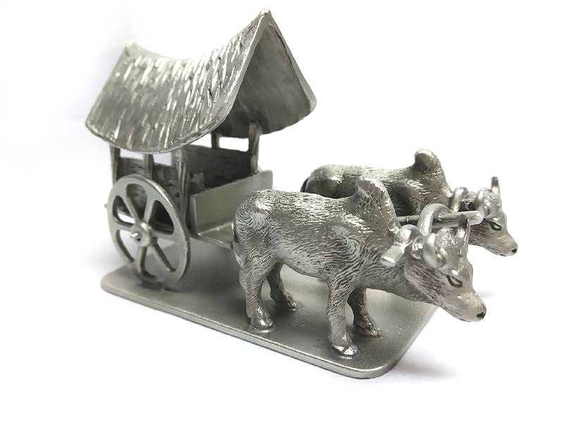 DKH042 Pewter Figurines - Bull with Cart