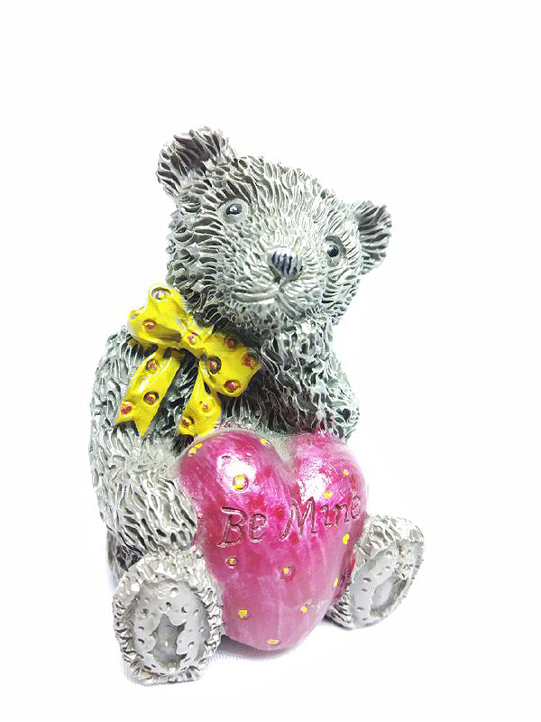 DKH045DC Pewter Figurines - Teddy Bear (Be Mine) with Décor