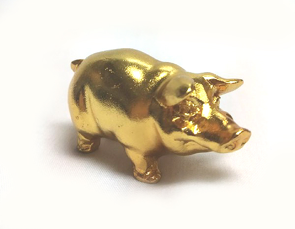 DKH062GP Gold Plated Pewter Figurines - Pig
