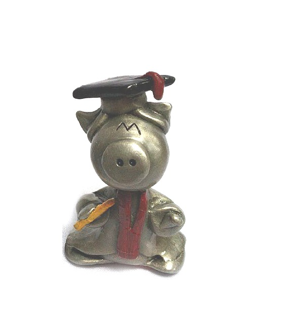 DKH071DC Pewter Figurines - Pig (wearing graduation cloth) with Décor