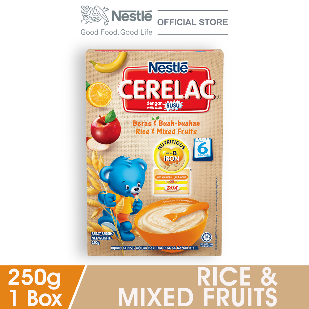 NESTLE CERELAC Rice & Mixed Fruits Infant Cereal Box Pack 250g