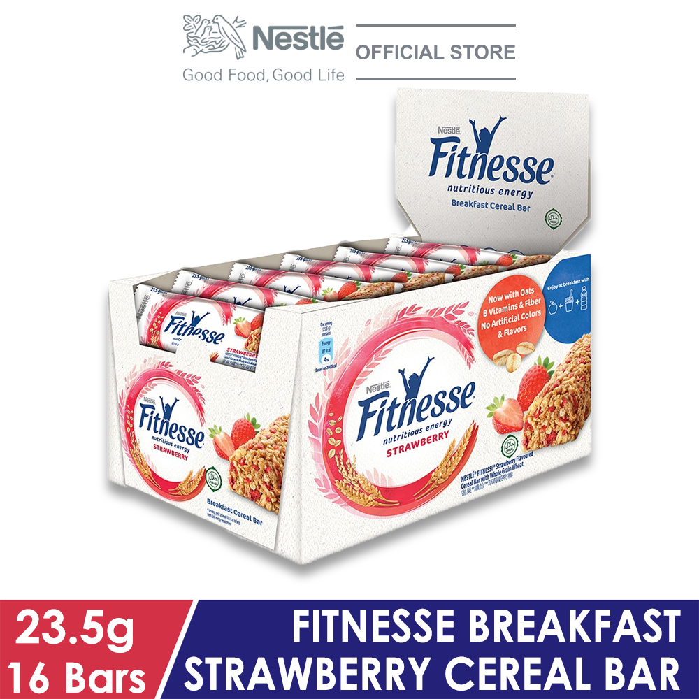 NESTLE Strawberry Fitnesse Breakfast Cereal Bar, 16 Bars, 23.5g Each
