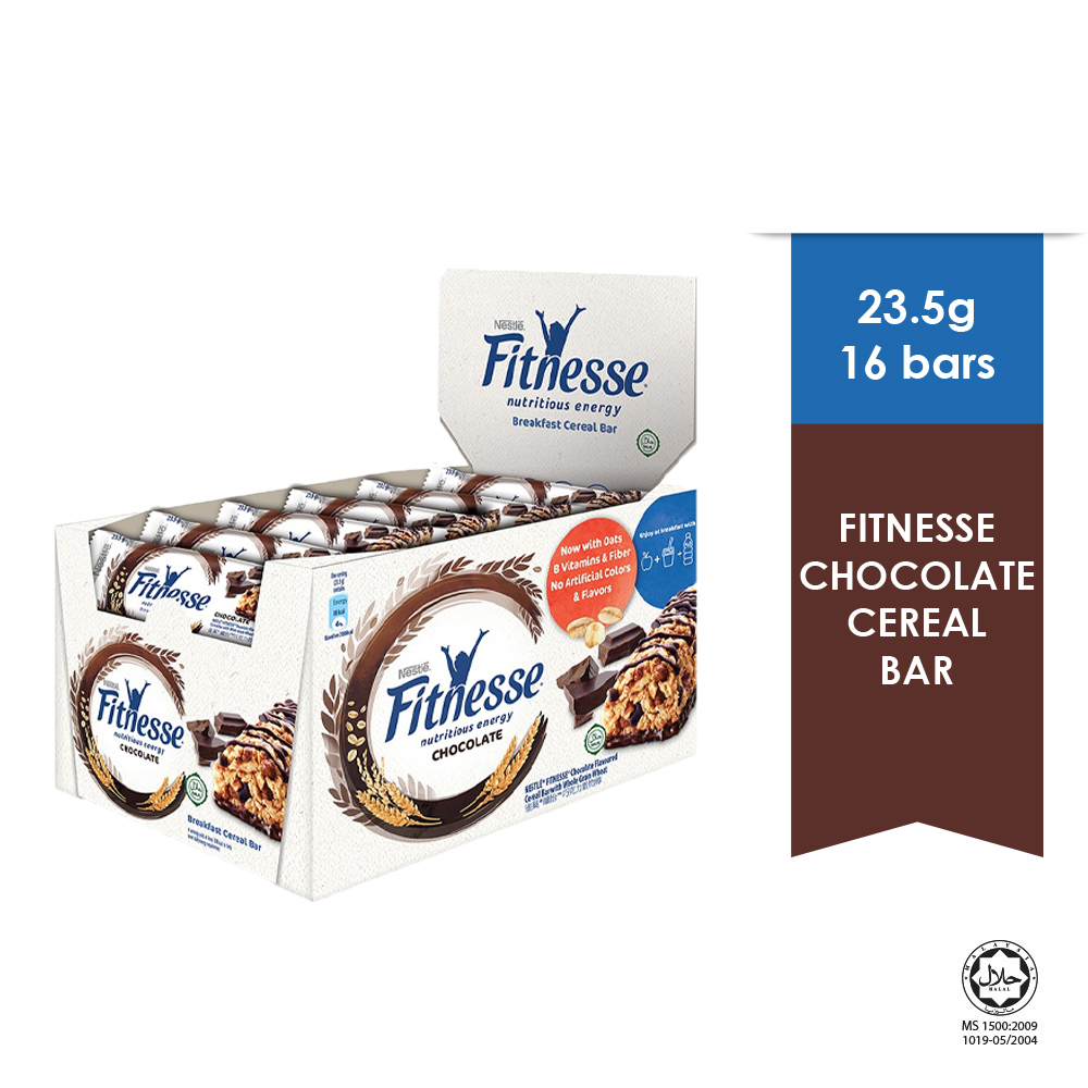 NESTLE Chocolate Fitnesse Breakfast Cereal Bar, 16 Bars, 23.5g Each, EXP DATE : MAR '20