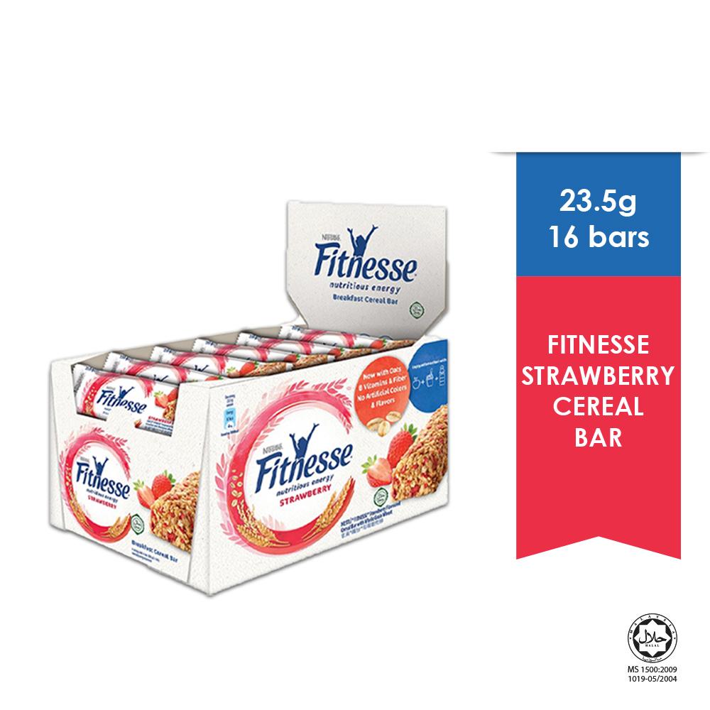 NESTLE Strawberry Fitnesse Breakfast Cereal Bar, 16 Bars, 23.5g Each