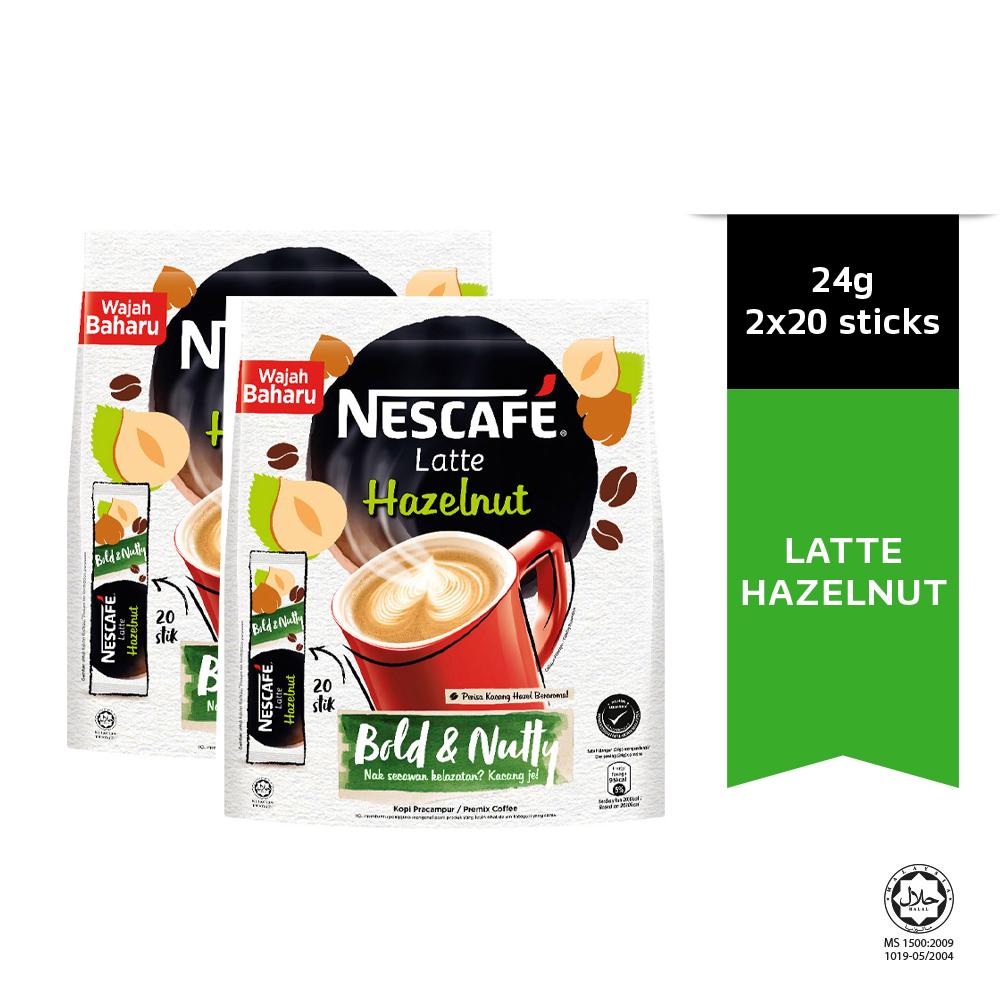 NESCAFÉ Latte Hazelnut Coffee 20 Sticks 24g Each x2 packs