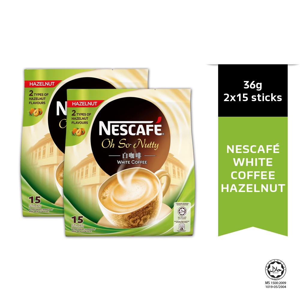 NESCAFE White Coffee Hazelnut 15 Sticks 36g x2 packs