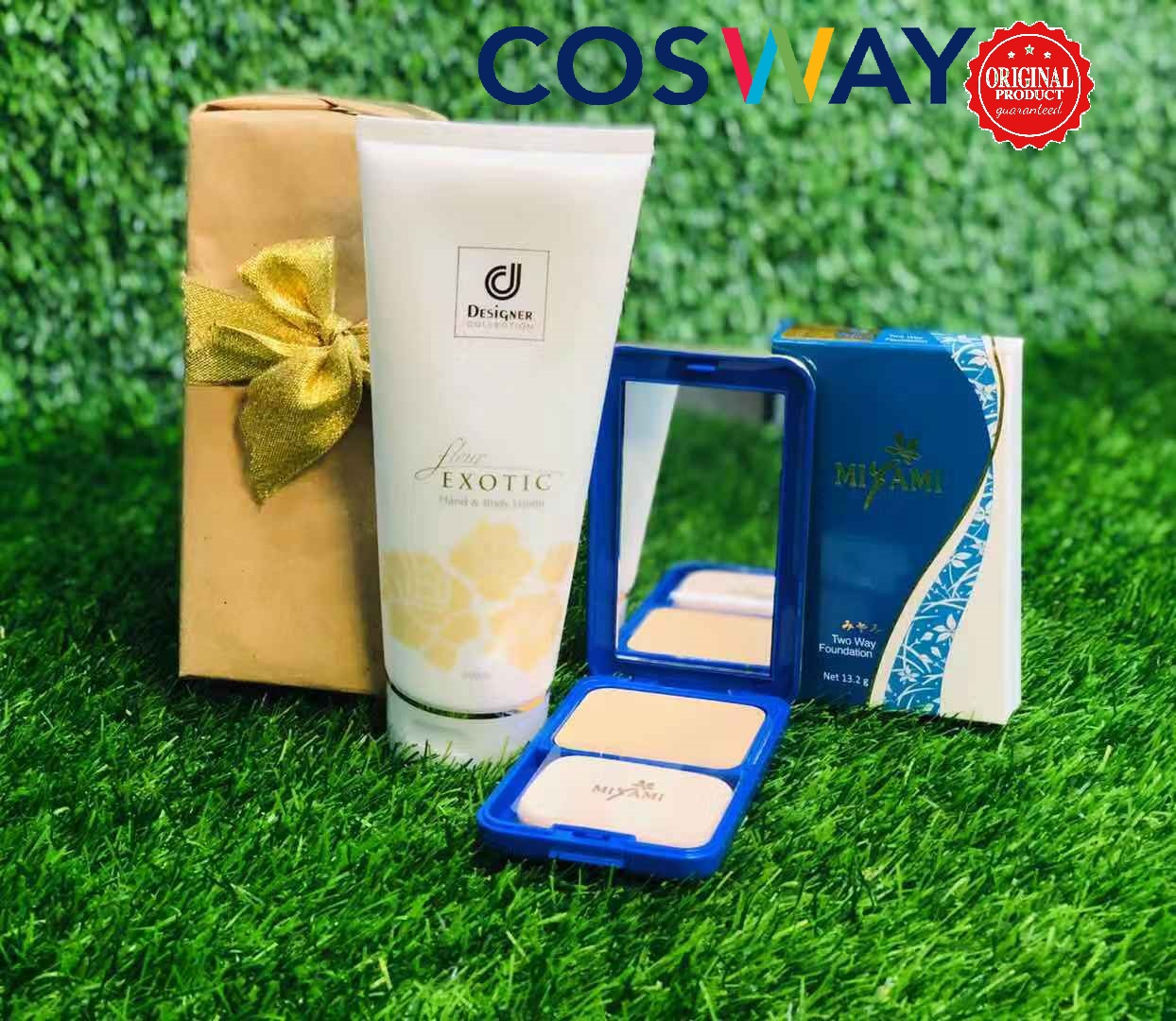GS012- Cosway Designer Collection Body Lotion & Miyami Foundation - Gift Set 2in1 (Original Cosway)