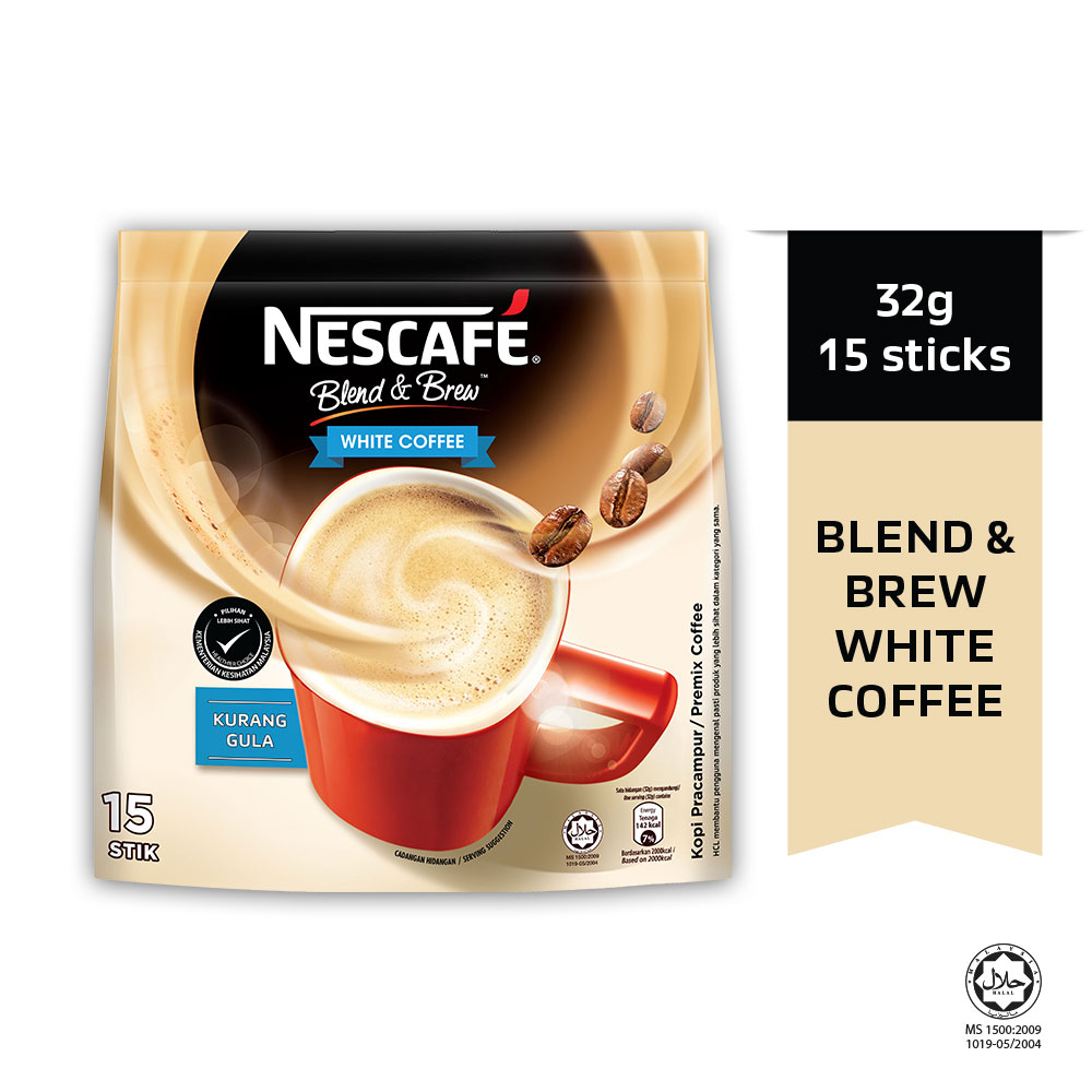 Nescafe Blend & Brew White Coffee 15 Sticks, 32g Each