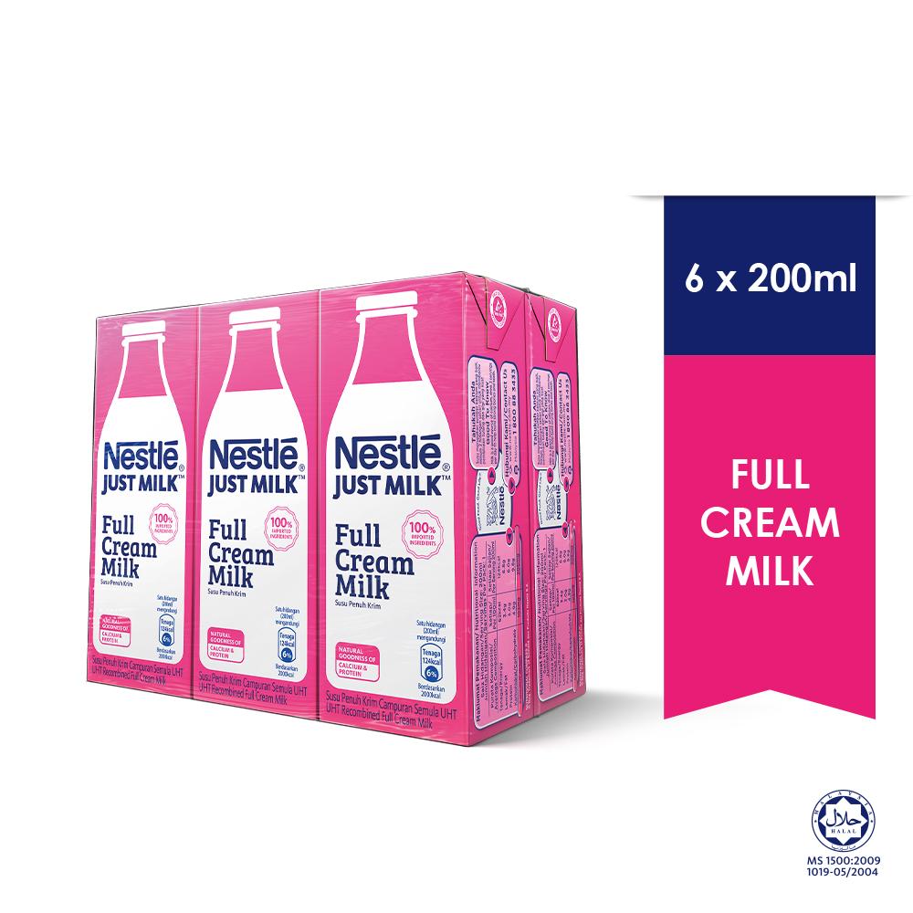 NESTLE Just Milk Full Cream Milk 6 Packs 200ml