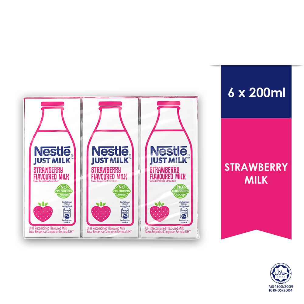 Nestle Just Milk Strawberry 6 Packs 200ml
