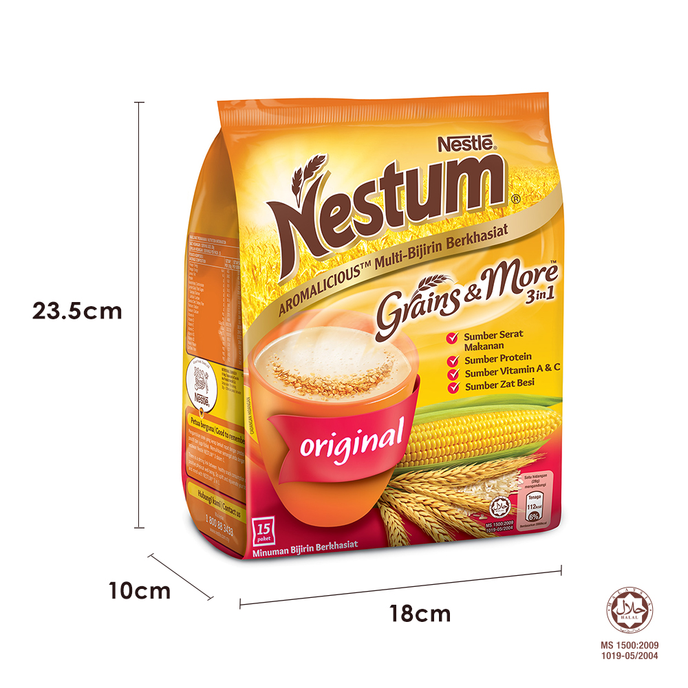 NESTLE NESTUM Grains & More 3in1 Original 15 Packets 28g x2 packs